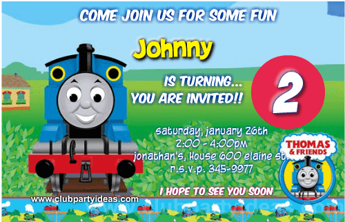 Thomas the train birthday invitations free