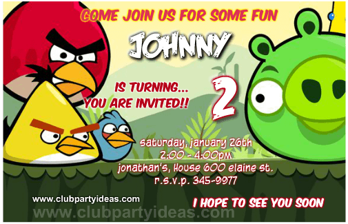 Angry Birds birthday invitations free printing