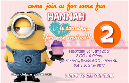 Despicable Me Pink cupcake birthday invitations