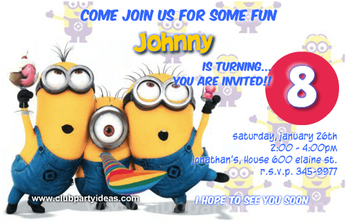Minion Birthday Invitations Celebrating Despicable Me