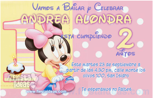 Disney baby minnie mouse birthday free invitations
