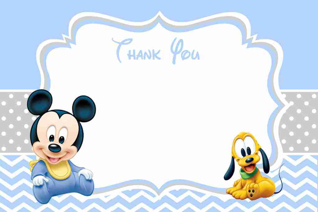 Baby Mickey Mouse 1st Birthday Thank You Card