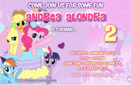 My Little Pony friendship is magic birthday invitations