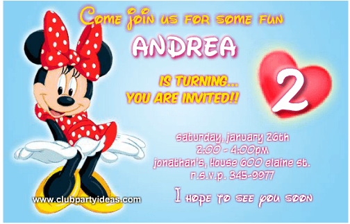 Minnie Mouse red dress with white polka dots birthday invitations