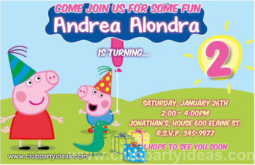 Peppa Pig Birthday Invitations Free Printable Templates 2018