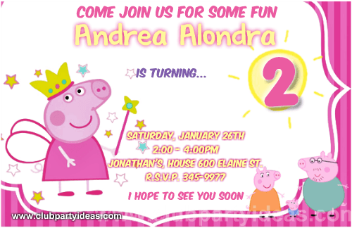 Peppa Pig Personalized Invitations Dressed As Fairy