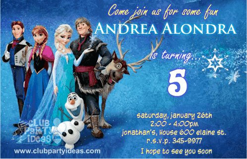 Frozen and friends birthday party invitations Anna, Hans, Kristoff, Olaf & Sven