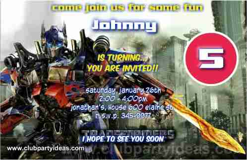Transformers Birthday Invitations With Optimus Prime Free Custom