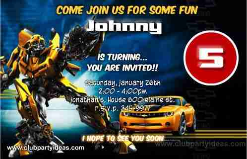 transformers bumblebee birthday invitations free custom