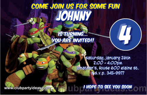 Teenage Mutant Ninja Turtles Custom Invitations Free