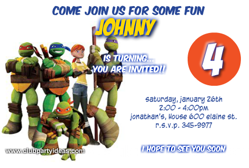 Teenage Mutant Ninja Turtles TMNT Custom Invitations Birthday Free