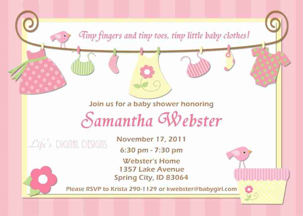 Cute baby girl shower invitations