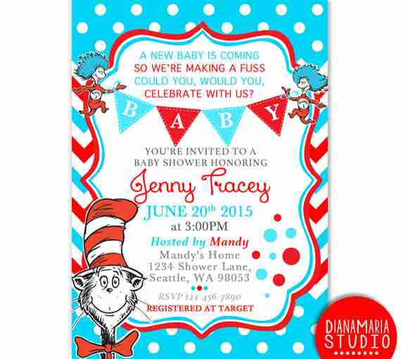 Dr Seuss baby shower invitations red and blue