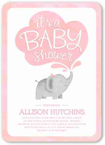Beauty elephant baby shower invitations