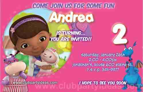 Doc Mcstuffins printable birthday party invitations