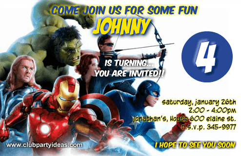 The Avengers superhero invitations printables