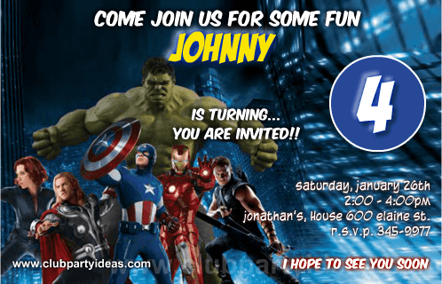 avengers birthday invitations template