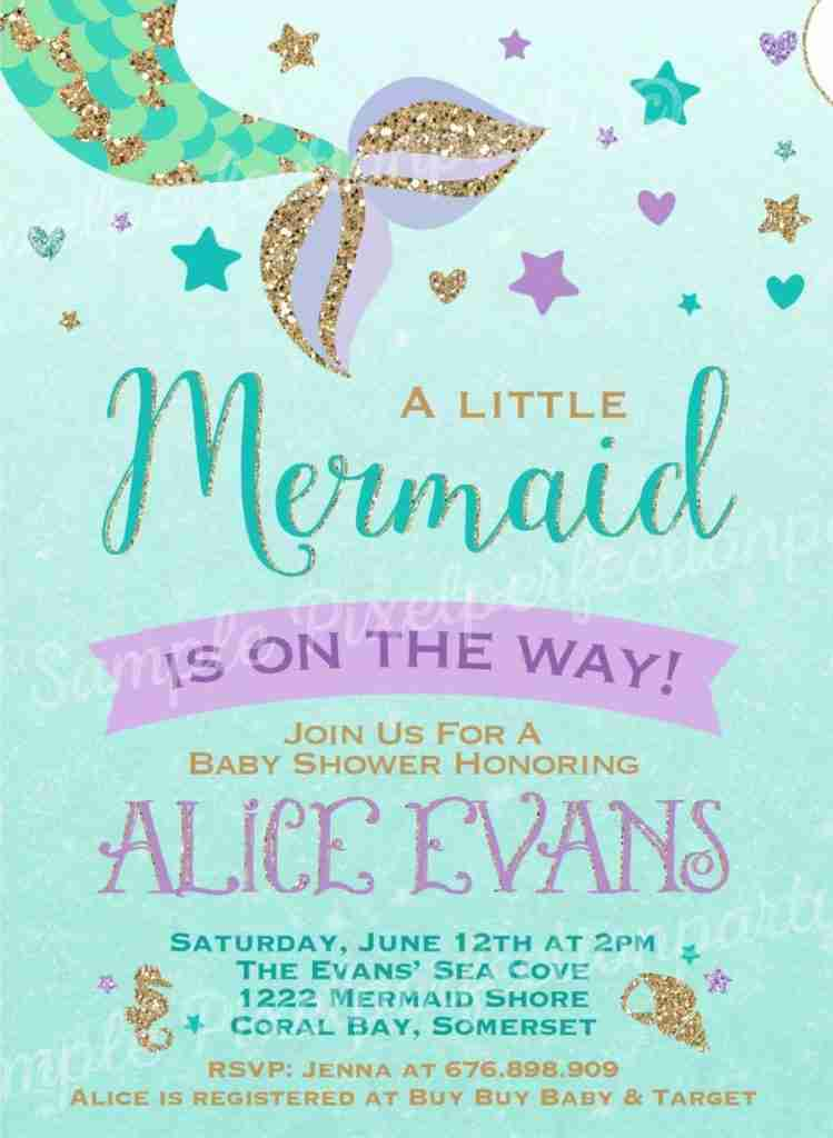 mermaid baby shower invitations Turquoise