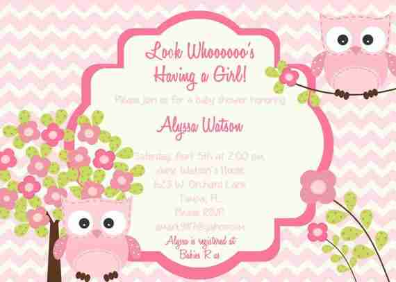 Pink Owl baby shower invitations