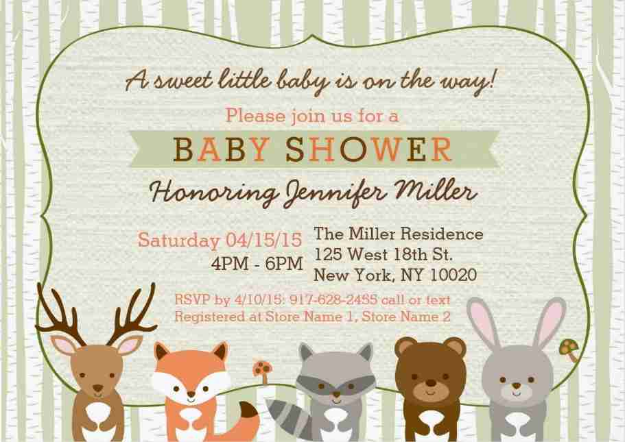 Original woodland baby shower invitations