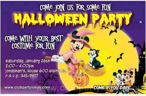 Minnie Mouse Halloween party invitations