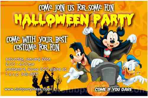 Mickey Mouse Halloween party invitations printable