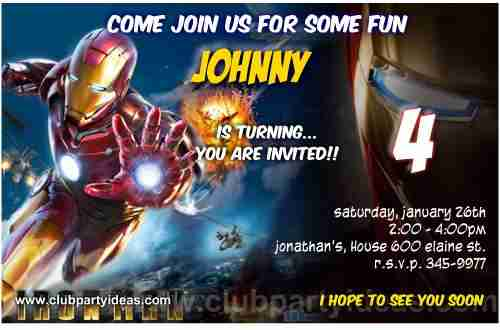 Iron Man birthday Invitations Free Printable