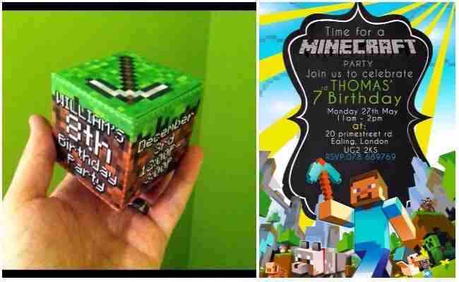 Minecraft birthday Invitations Free Printable