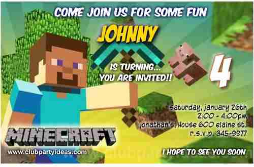 Minecraft birthday Invitations Printable