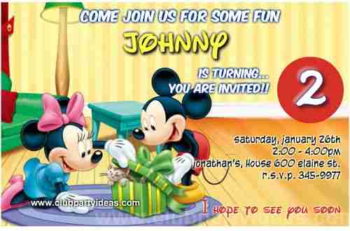 Mickey and Minnie mouse receiving a sweet gift birthday Invitations