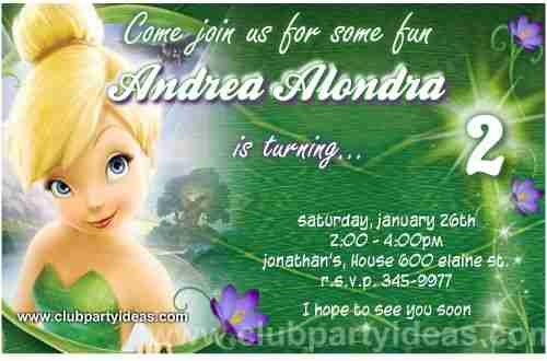 Tinker Bell birthday Invitations ready to print