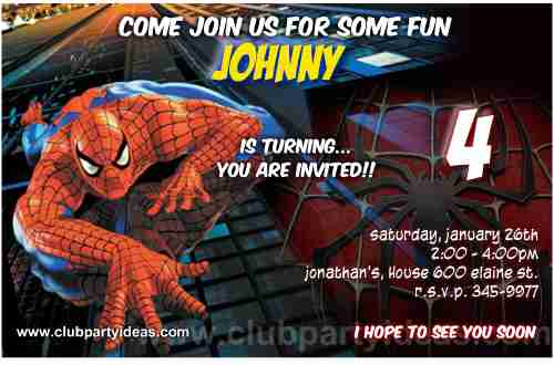 Amazing Spiderman 2 Birthday Invitations