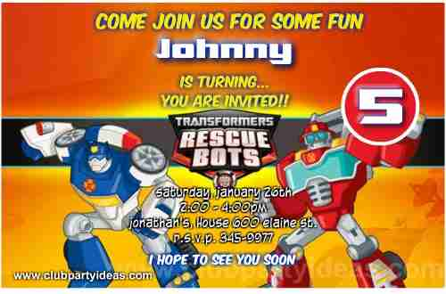 Transformers Rescue Bots invitations Printable