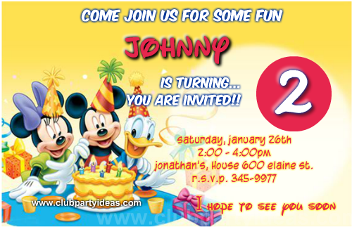 Mickey Mouse Minnie and Donald birthday invitations free