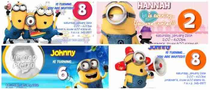 Custom Minion Birthday Invitations FREE printable 2018