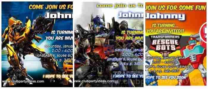 Transformers Birthday Invitations Printable Free Clubpartyideas