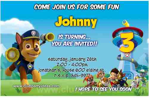 Chase Paw Patrol Birthday Invitations free