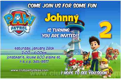 Cute Paw patrol birthday invitations personalized