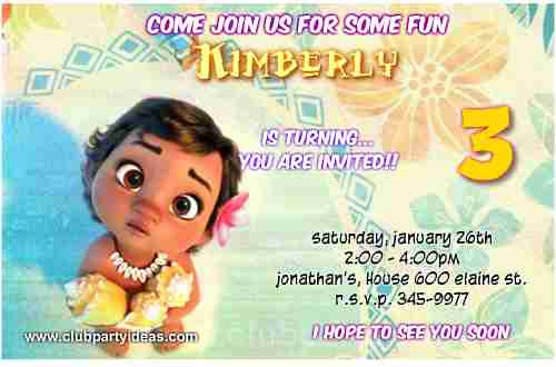Baby Moana party invites