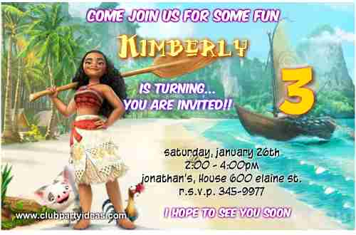 Moana Birthday Invitations