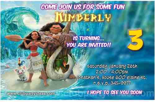 Moana and Maui birthday invitations