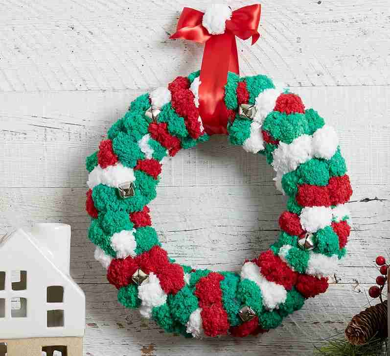 Jingle Bell Pom Pom Yarn Wreath